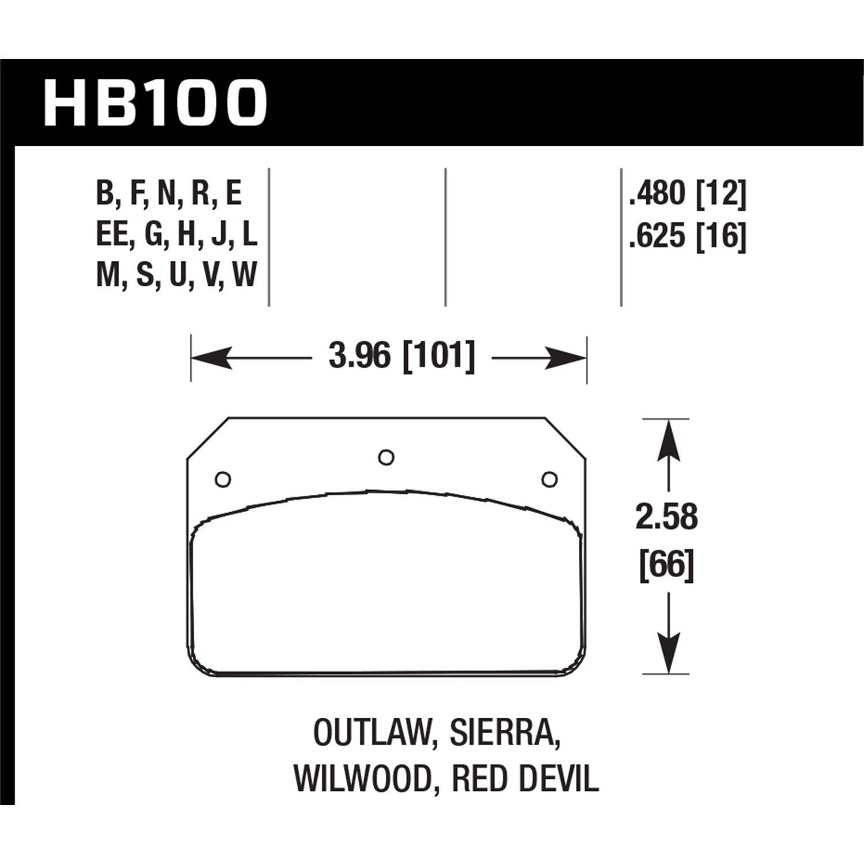 Hawk Performance HB542U.490 Motorsports Brake Pad